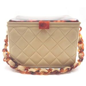 Chanel Rare Faux Tortoise Beige Leather Handbag